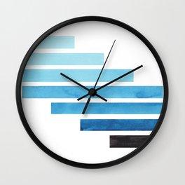 Cerulean Blue Midcentury Modern Minimalist Staggered Stripes Rectangle Geometric Aztec Pattern Water Wall Clock