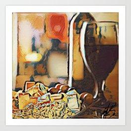 Wine and dine Art Print