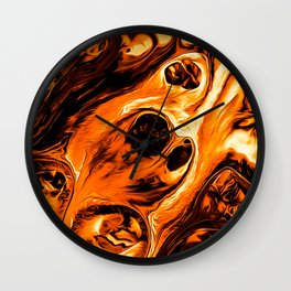 Abstract Gold Fire Paint IV Wall Clock