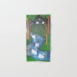 A Flock of Seven Swans-A-Swimming Hand & Bath Towel