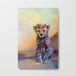 Cute cheetah cub Metal Print