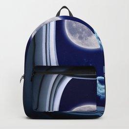 Airplane window with Moon, porthole #3 Backpack