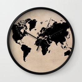 world map 94 black #worldmap #map #world Wall Clock