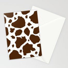 cow spots animal print dark chocolate brown white Stationery Cards