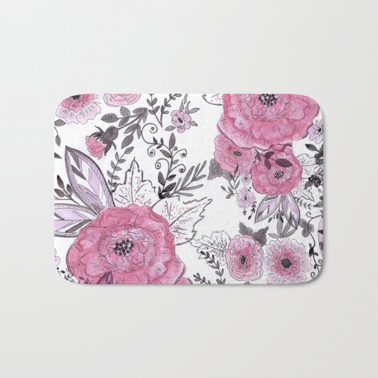 Watercolor roses with black and gray leaves . Bath Mat