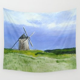 Windmill French Countryside Acrylics On Paper Wall Tapestry