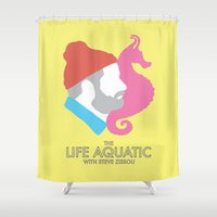 the life aquatic Shower Curtains featuring The Life Aquatic With Steve Zissou by John-Lewis Anderson