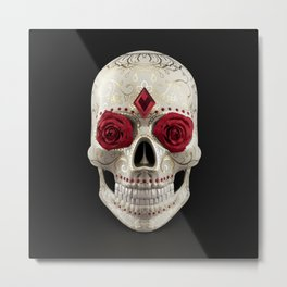 Calavera or Sugar Skull. Human skull decorated with roses, rubies and golden floral ornaments Metal Print