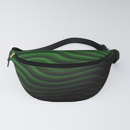 Black and Green Wave Stripes Fanny Pack