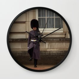 Palace Guard on Patrol at Buckingham Palace in London England Wall Clock