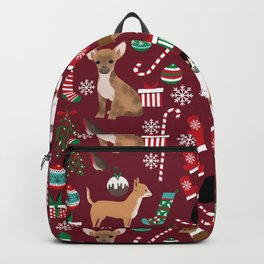 Chihuahua christmas presents dog breed stockings candy canes mittens Backpack