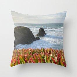 grasses plant rocks sea horizon Throw Pillow