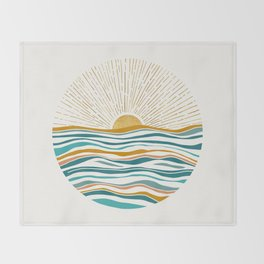 The Sun and The Sea - Gold and Teal Throw Blanket