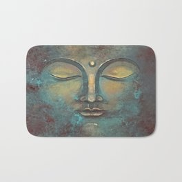 Rusty Golden Copper Buddha Face Watercolor Painting Bath Mat