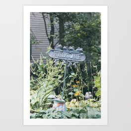 Frog Welcome Sign  Art Print