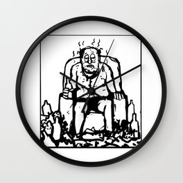 Comic of a fat lazy man drinking and smelling Wall Clock