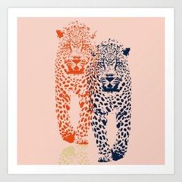 Kitten Club - Navy, Orange & Purple Leopard Print by Kristen Baker Art Print