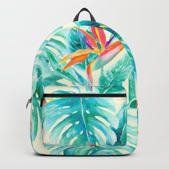 Tropical Paradise Pale Yellow Backpack
