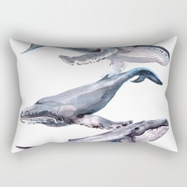 Humpback Whales, three whales illustration Rectangular Pillow