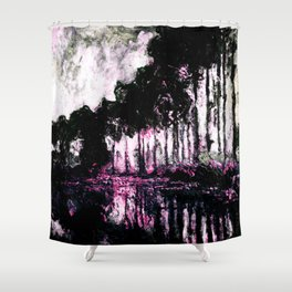 Monet Poplars on the Banks of the River Epte Pink Dark Shower Curtain