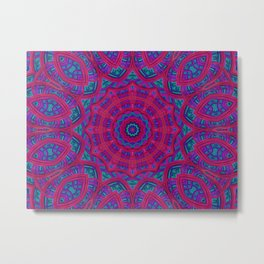 Bright Fractal Kaleidoscope Metal Print