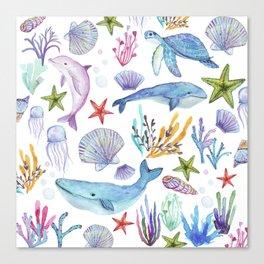 under the sea watercolor Canvas Print