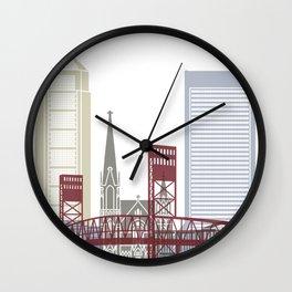 Jacksonville skyline poster Wall Clock