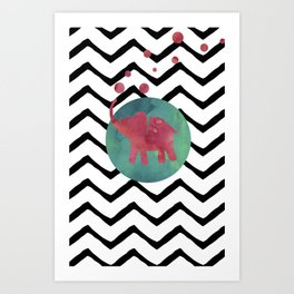Chevron stripes and watercolor elephant with black, green and red colors Art Print
