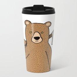 Danger bear with axe Metal Travel Mug