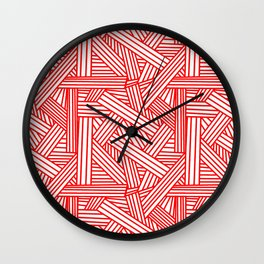 Sketchy Abstract (Red & White Pattern) Wall Clock