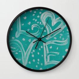 Teal Love Heart Wall Clock