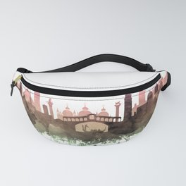 Venice Skyline Watercolor Blush Taupe Green by Zouzounio Art Fanny Pack