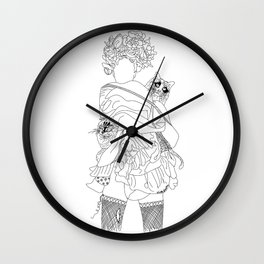 Laundry Day 1 Girl Two Cats Wall Clock