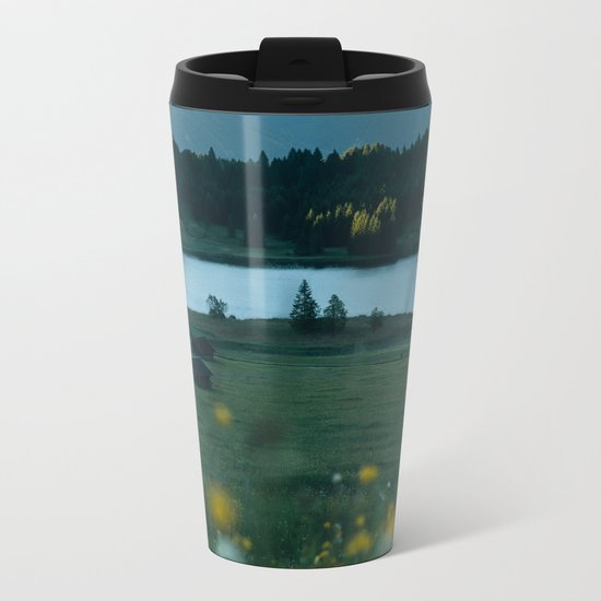 Sunrise at a mountain lake with forest - Landscape Photography Metal Travel Mug