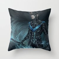 nightwing Throw Pillows featuring Nightwing by Veradia