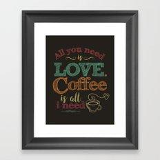Love & Coffee (dark brown) Framed Art Print