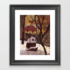 Panda Is Ready For Autumn Framed Art Print
