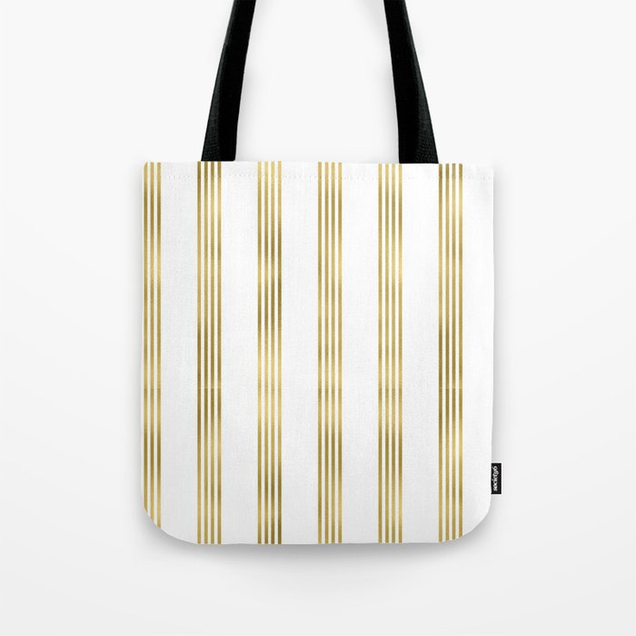 Simply luxury Gold small stripes on clear white - vertical pattern Tote Bag