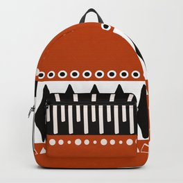 Bohemian orange, black&white tribal vibe Backpack