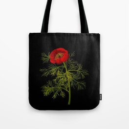 Paeonia Tenuifolia Mary Delany Vintage British Floral Flower Paper Collage Black Background Tote Bag