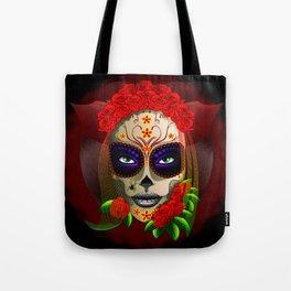 Skull Girl Dia de los Muertos Portrait Tote Bag