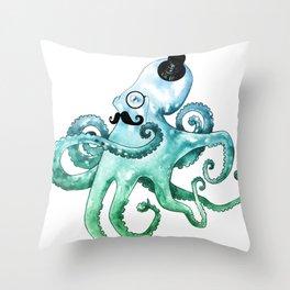 Dapper Octopus Throw Pillow