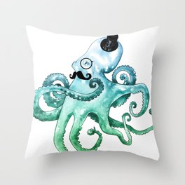 Dapper Octopus Throw Pillow