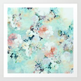 Modern pink turquoise floral watercolor pattern  Art Print