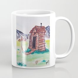 Outhouse, Primitive Art, Painting by Faye Coffee Mug