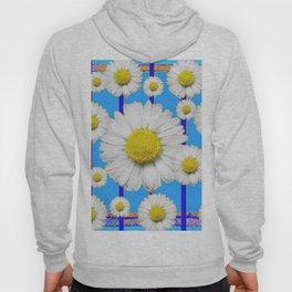 Modern Art Blue Shasta Flowers Pattern Hoody