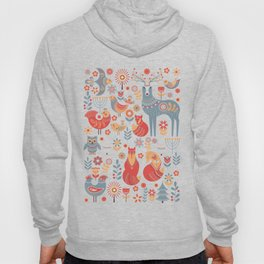 Seamless pattern with winter forest, deer, owl and Fox. The Scandinavian style. Hoody