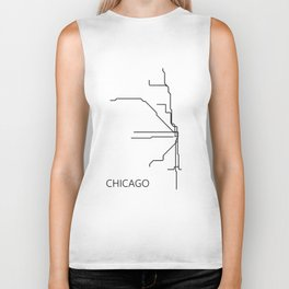 Chicago Metro Map - Black and White Art Print Biker Tank