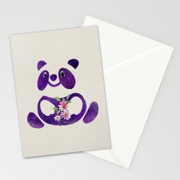 Cute  Purple Panda Bear with flowers Stationery Cards