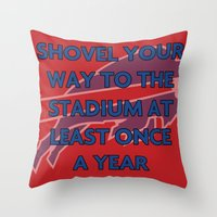 nfl Throw Pillows featuring NFL - Bills Shovel Your Way by Katieb1013